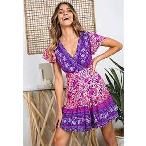 V Neck Printed Ruffle Hem Mini Dress